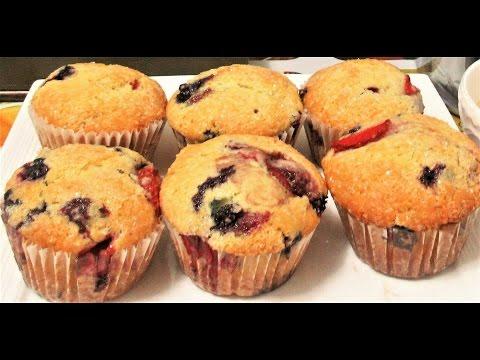 BLUEBERRY MUFFIN RECIPE,EASY ,BLUEBERRY STRAWBERRY & RASPBERRY FRUIT CAKE MUFFIN کیک میوه دار