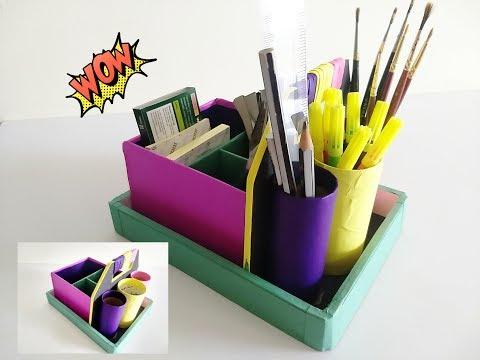 How to make a Stationery /Desk Organizer using cardboard and paper || IRIS craft Corner 17