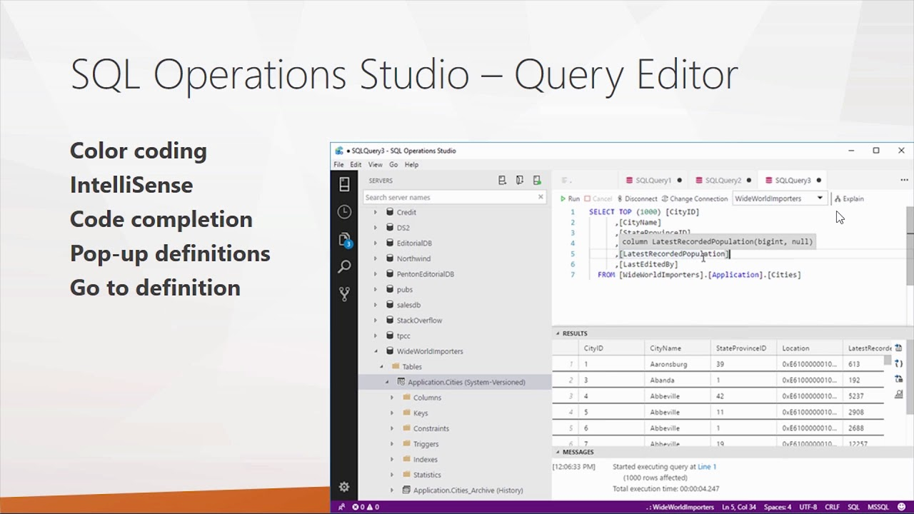 First Look at SQL Operations Studio