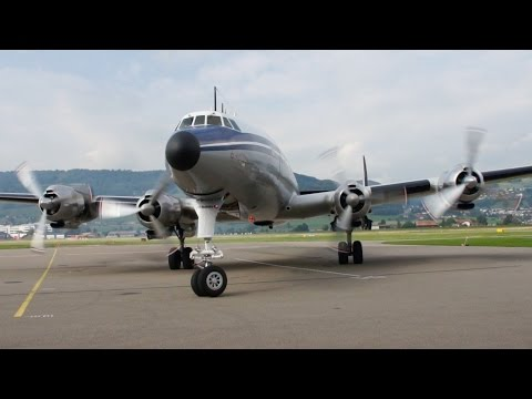 Lockheed Super Constellation Start-Up & Take Off at Airport Bern-Belp