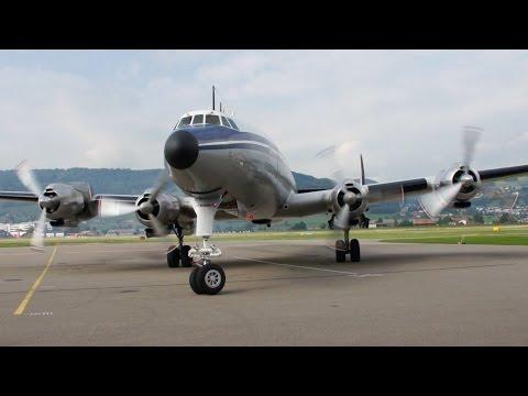 Lockheed Super Constellation Start-Up & Take Off at Airport Bern-Belp
