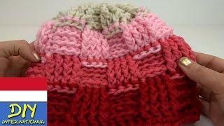 Merajut topi dingin motif keranjang cantik