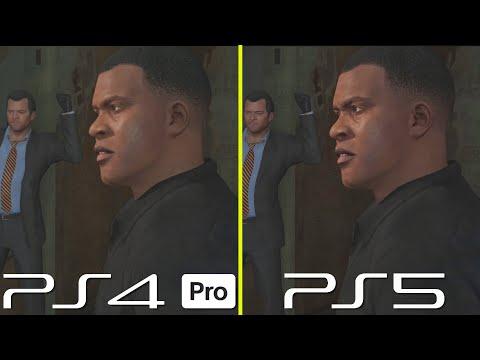 Сравнение графики в GTA V: текущая версия для Playstation 4 Pro и обновленная для Playstation 5