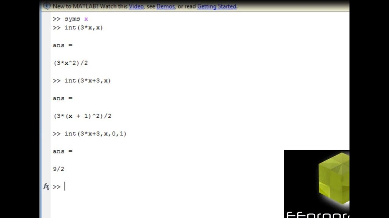 Matlab Tutorial How To Do Integration In Matlab Using Symbolic