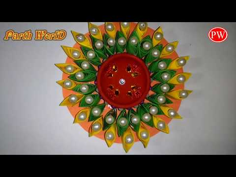Happy Diwali Homemade Diya / Candle stand with paper and CD/DVD, DIY Diwali decor ideas