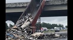 18 WHEELER DUMP TRUCK CRASHES INTO BRIDGE ON I-65 NORTH IN CULLMAN, AL