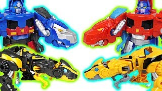 Transformers Rescue Bots transform dinosaurs Optimus Prime, Bumblebee! Go! - DuDuPopTOY