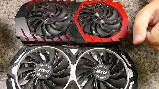 Видеокарты MSI GTX1070 ARMOR vs GAMING