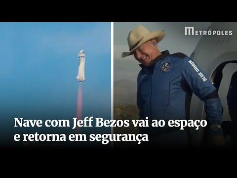 Nave com Jeff Bezos vai ao espaço e retorna em segurança
