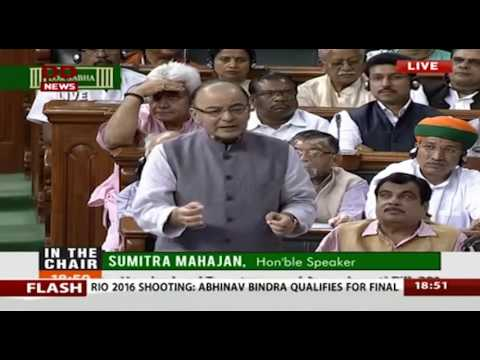FM Shri Arun Jaitley's reply on GST Bill in Lok Sabha, 08.08.2016