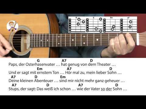 Stups, der kleine Osterhase - Rolf Zuckowski, Cover, Akkorde & Text für Gitarre zum Mitspielen