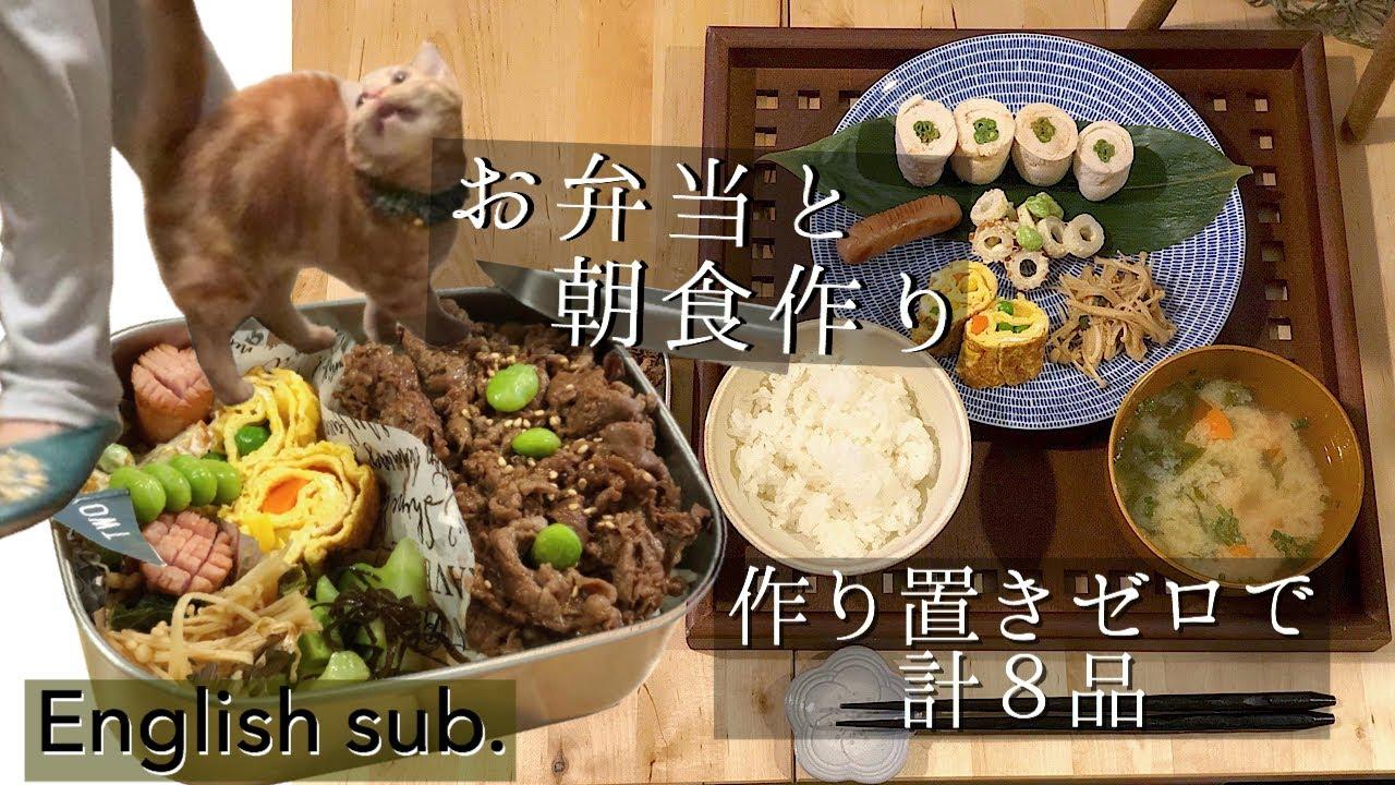 【料理動画♯35】【English sub】猫に誘惑されながら朝ごはんとお弁当作り。計8品【obento】【猫動画】