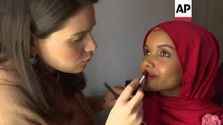 Hijab-wearing model struts her stuff