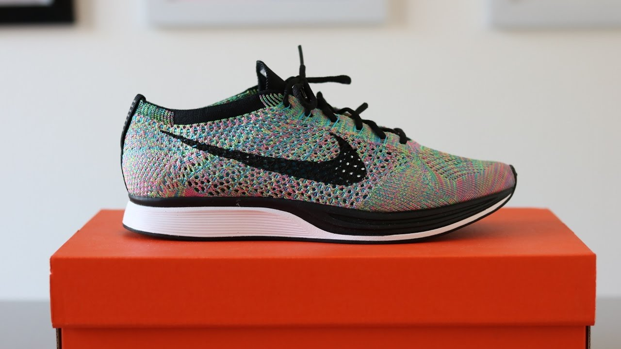 002266a89d70 Review  NIKE FLYKNIT RACER RAINBOW MULTICOLOR 2.0 + ON FEET - YouTube