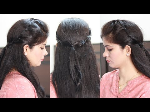 1 Min Cute Hairstyle | Beautiful & Easy Hairstyle For School, College, Party | Best Hairstyle 2019 thumbnail