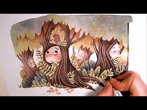 Watercolor Illustration treepeople with masking fluid and colored pencils by Iraville