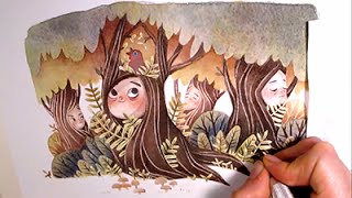 """Watercolor Illustration """"treepeople"""" with masking fluid and colored pencils by Iraville"""