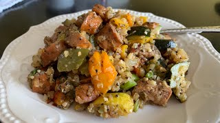 Tomato Basil and Apple Chicken Sausage and Vegetable Skillet~LOW Carb~Weight Loss Recipe