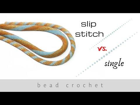 Slip stitch vs. single bead crochet | Bead crochet ropes tutorial | Bead crochet | DIY