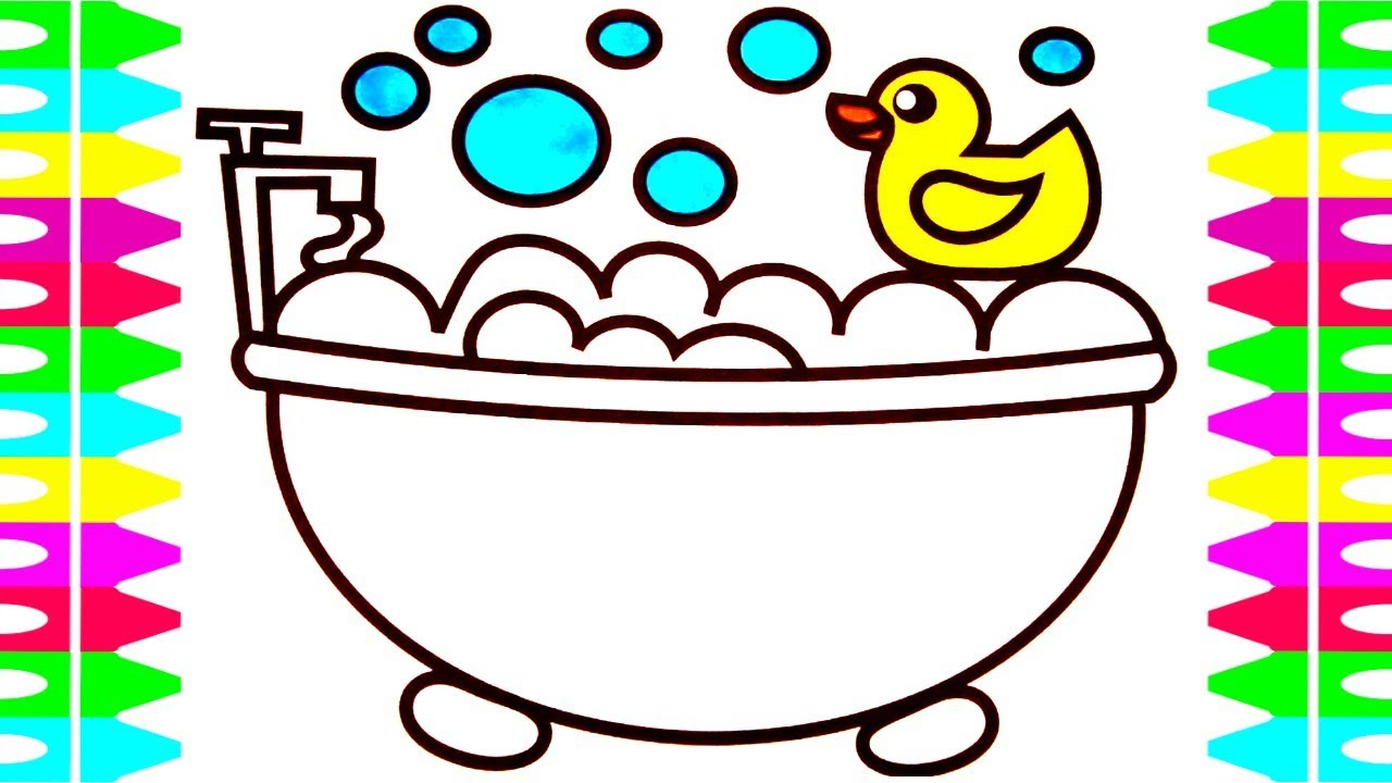 Learn How To Draw A Bubble Bath With Rubber Duck For Kids