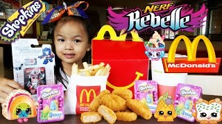 NEW 2015 Mcdonalds Happy Meal Kids Toys Nerf Rebelle Transformers & Shopkins Surprise-AngieGigiLee