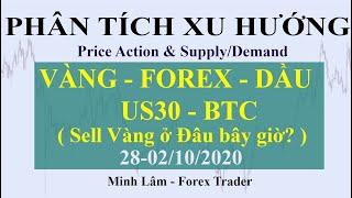 PHÂN TÍCH XU HƯỚNG VÀNG - FOREX - DẦU - US30 - BTC  28-02/10/2020 (Price Action) - Forex Traders