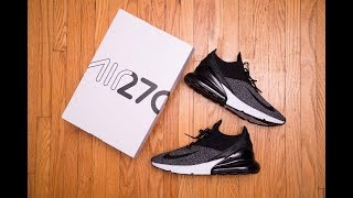 06c6a304ed Nike Air Max 270 Flyknit White Black Review | Tracksuits Store