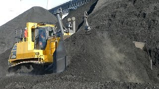 Komatsu D375A Pushing Coal at Big Power Plant in Denmark | Special Builded Blade | DK Contruction