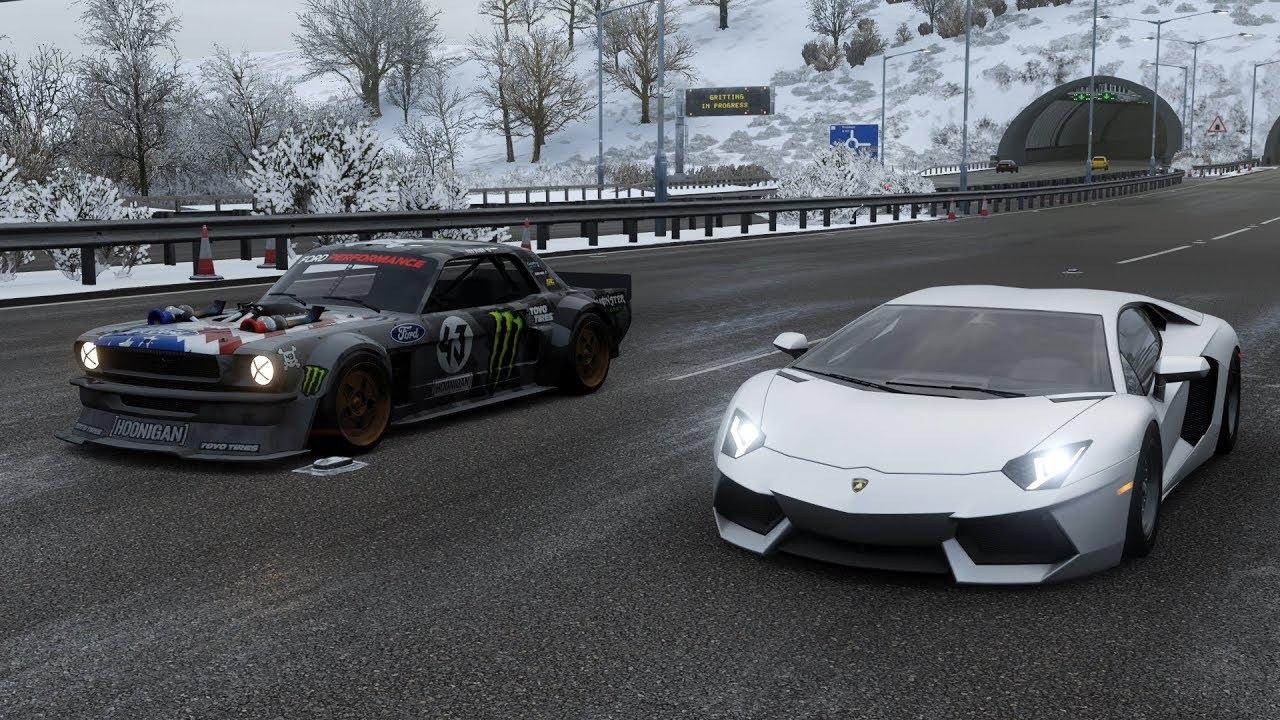 Forza horizon 4 drag race lamborghini aventador fe vs ford hoonicorn mustang v2