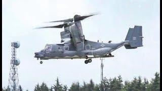 A CV-22 Osprey flies over Yokota Air Base 横田飛行場  at Friendship Festival 2018
