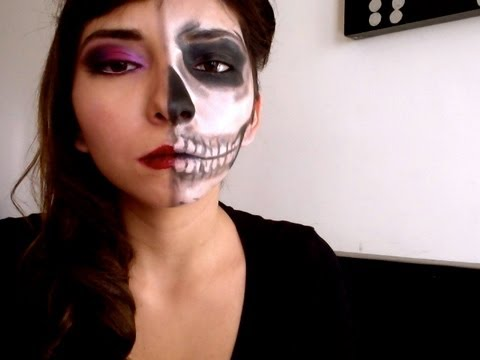 Halloween Tutorial Mitad Calavera Youtube