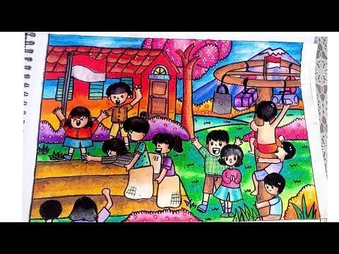 Cara Menggambar Dan Mewarnai Tema Hut Kemerdekaan Ri Gradasi Warna Oil Pastel Crayon Youtube