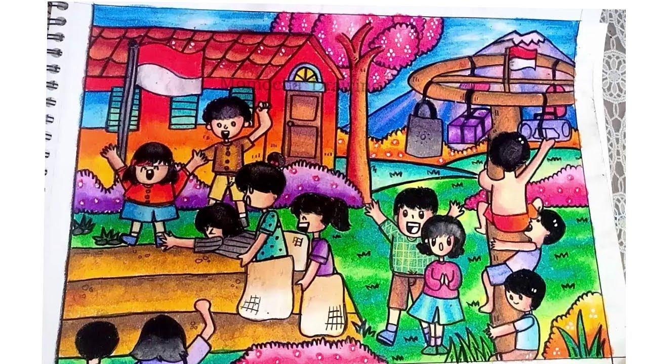 Cara Menggambar Dan Mewarnai Tema Hut Kemerdekaan RI Gradasi Warna Oil Pastel Crayon