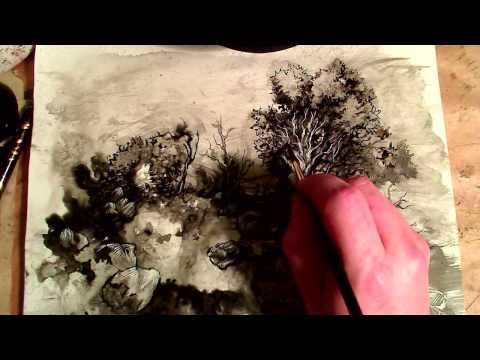 ASMR Ink Wash & Scratchboard