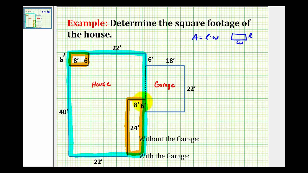 Ex find the square footage of a house youtube for Floor calculator math