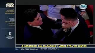 El abrazo entre Messi y maradona en los The Best