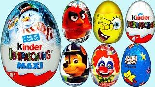 13 Surprise Eggs Angry Birds Frozen Sponge Bob Paw Patrol Cars Kinder Eggs Surprise