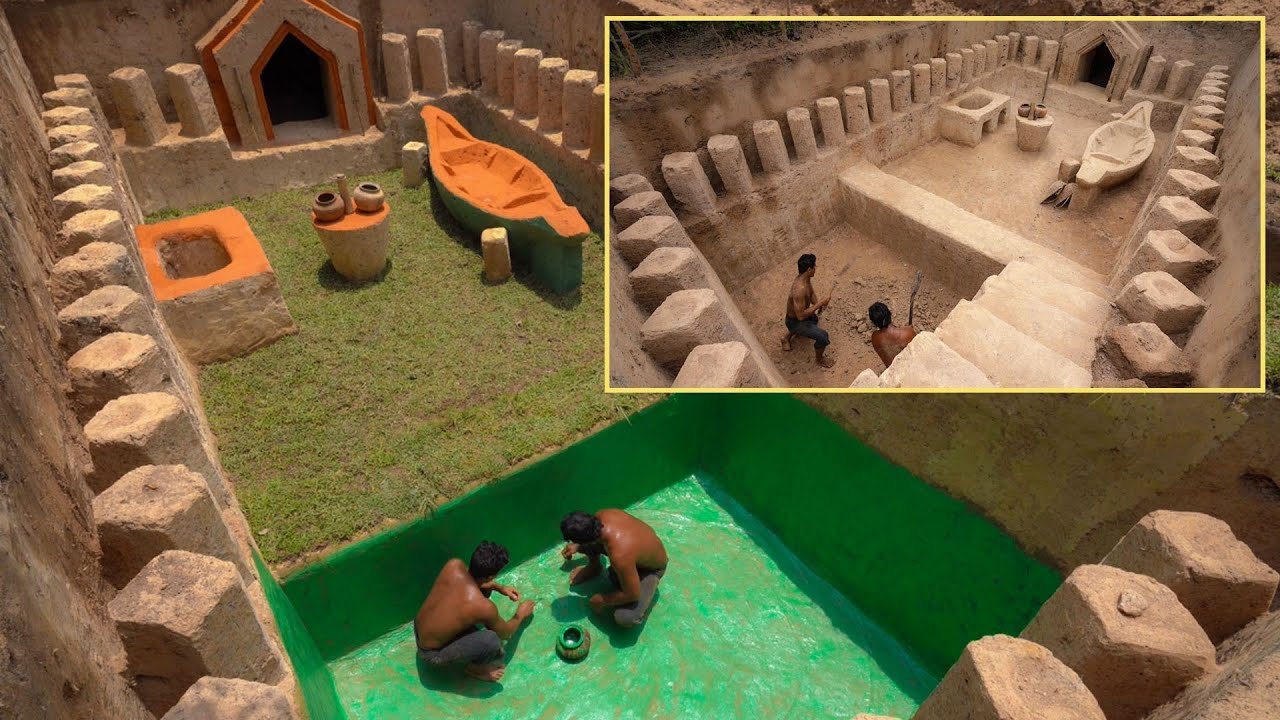 How To Build 102Day Secret Temple Underground House With Green Swiming Pools