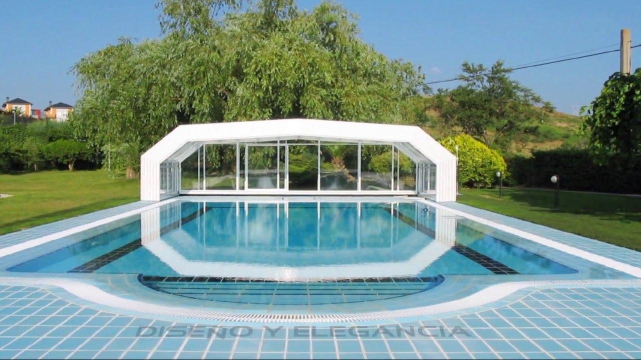Cubiertas para piscinas altas telesc picas cubriland youtube for Piscina bebe con parasol