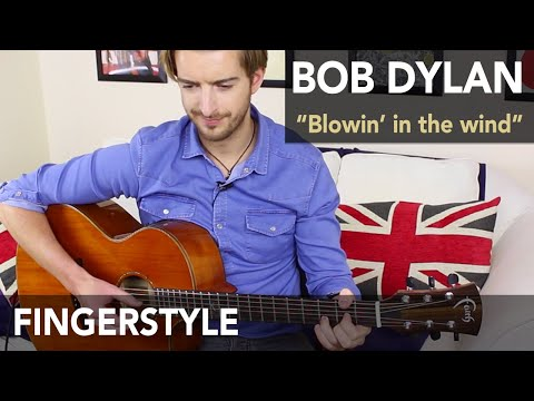 Blowin' In The Wind Fingerstyle Acoustic Guitar Tutorial - Bob Dylan