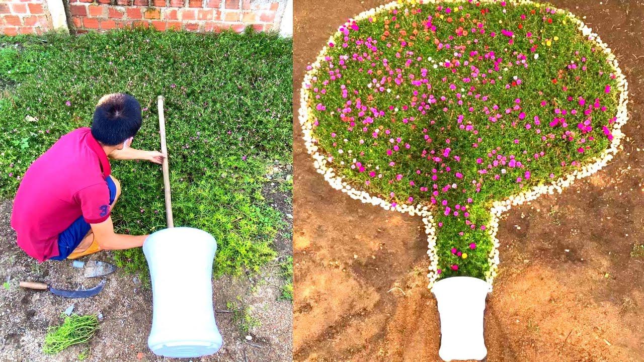 Ý tưởng làm vườn sáng tạo - chậu cây khổng lồ   Creative gardening idea - giant potted plant