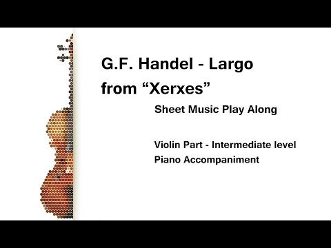 Handel Largo from Xerxes Violin Sheet Music Play Along INTERMEDIATE level