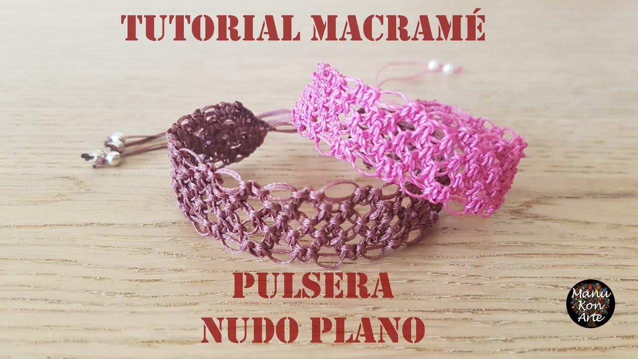 DIY TUTORIAL Pulsera de Hilo en Macramé Nudo Plano Fácil Paso a Paso/How to make Macrame Bracelet