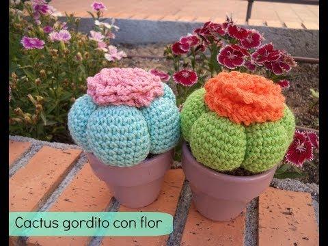 Cactus Fantasia Amigurumi Tejidos A Crochet : Cactus con flor grande tejido en crochet (amigurumi) Doovi