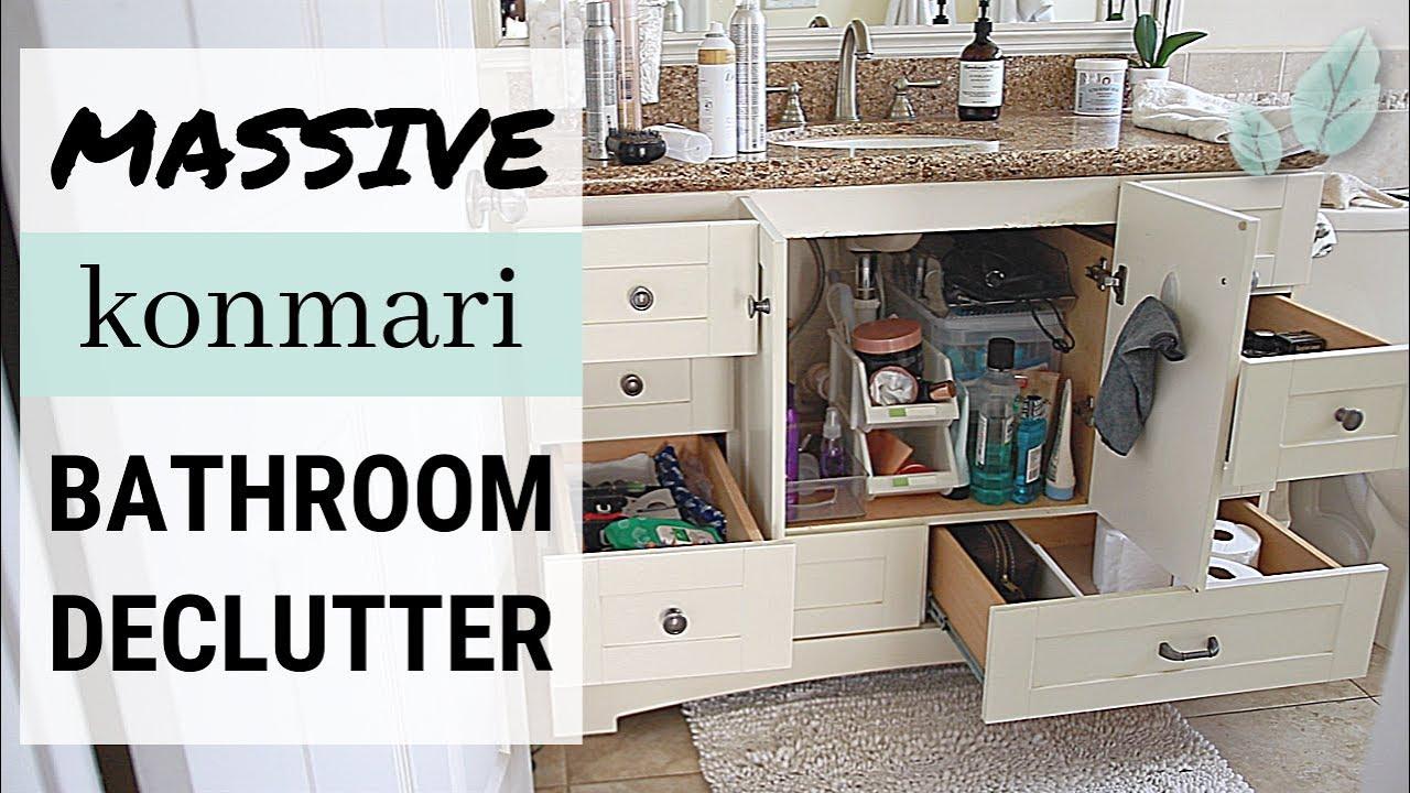 Konmari method bathroom declutter before after marie - Declutter before and after ...