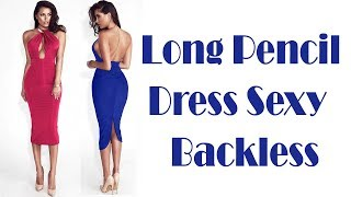 Sexy Backless Split Long Pencil Winter Dress Review