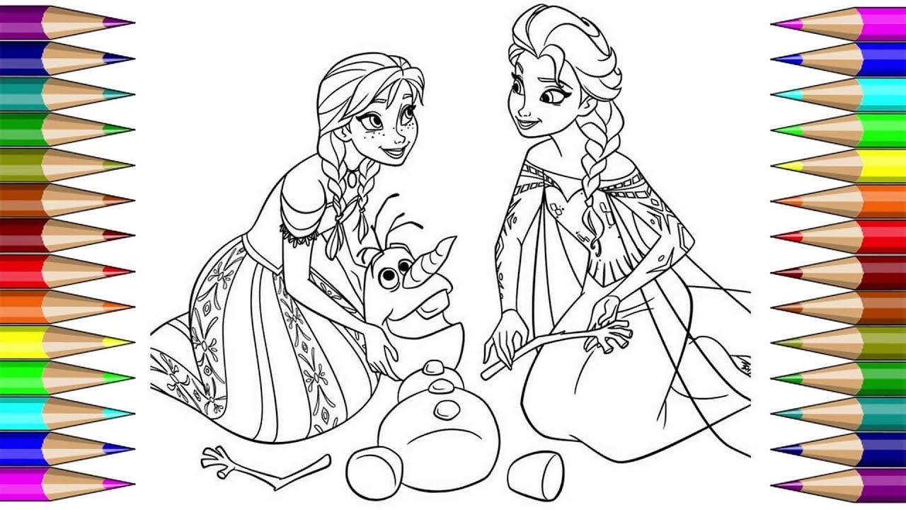 Coloring Frozen Elsa Anna | Раскраска холодное сердце ...