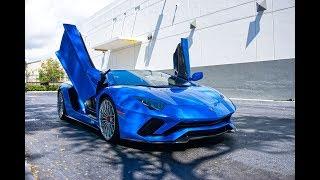Lamborghini Aventador S Blue Thunder Start Up Sound Interior Exterior at Lamborghini Miami