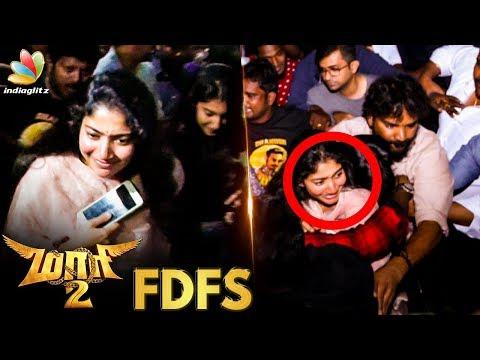 Sai Pallavi & Aishwarya Dhanush at Kasi Theatre FDFS | Maari 2 Fans Celebration