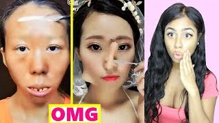 REACTING TO VIRAL ASIAN MAKE UP TRANSFORMATION TUTORIALS